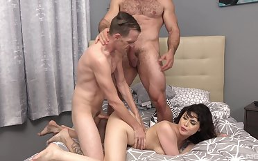 Brunette wife gets drilled come into possession of two men in a dirty trilogy