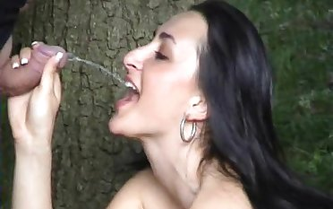 Ravishing murk with natural tits drinking piss after fingering her pussy minus