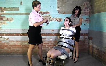 Lesbian BDSM Chained and Electro Tortured MILF Slave