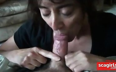 mature girl sucking small cock with an increment of swallows