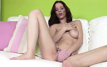 Inside The Green Room, she can't keep her panties on nor her fingers out of her wet pussy