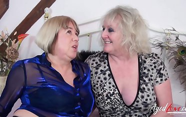 One lickerish pornstars Auntie Trisha and Claire Knight have a go sex with two big cocks