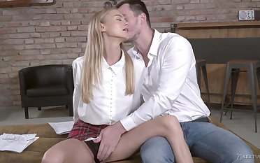 Sizzling blond let slip by gives a great blowjob and gets her slit nailed