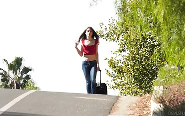 Picking up hitchhiker leads to some naughty intercourse with a hot T-girl