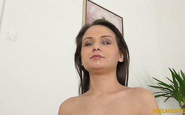 Compacted tits Anina Doublei stripps and earns a facial after sex
