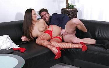 Yawning chasm pussy and anal with a MILF in sexy red stockings