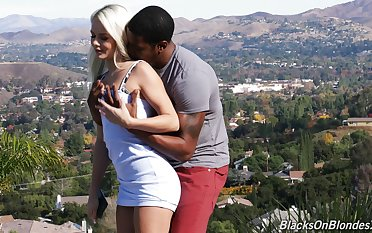 Torrid pale nympho Elsa Jean loves sucking long BBC before being fucked doggy