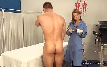 A big guy submits to prostate exam and his chap-fallen doctor wants to finger his ass
