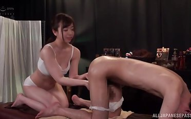 Japanese model gives a back massage to a stranger and they make the beast with two backs