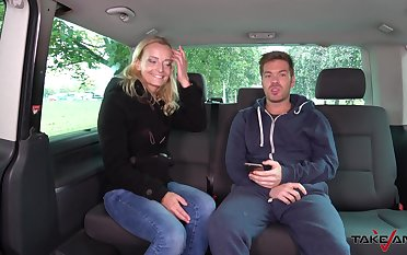 Licentious blonde from the street Amy gives a blowjob and gets fucked in the van