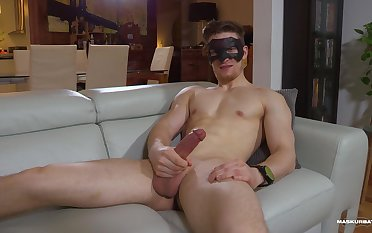 Erotic fantasy with a solo guy jerking off on the couch