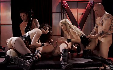 Casey Calvert together with two of her hottest friends fucked wits two guys