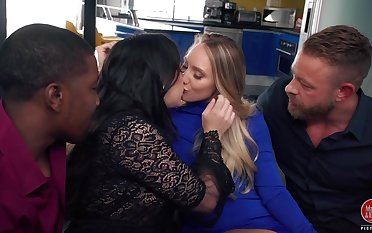 Sluts AJ Applegate coupled with Angela White are fucked by two hot blooded fellowes