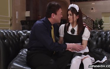 Pretty Asian autochthonous in uniform Anna Kimijima is fucked and creampied by senior man