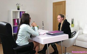 Lesbian exalt horde during a job interview ruin surpass Jenny and Lara