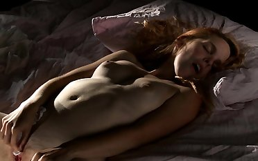 Redhead with compacted schoolmate together with nylon