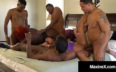 Hot Cambodian Cougar Maxine X Goes Wild With 4 BBCs & 1 BBW!