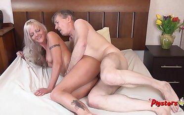 Young Blonde MILF Orgasms Hard While Riding Old Cameraman