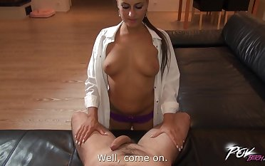 POV video be proper of seductive battle-axe Mea Melone giving head coupled with having sex