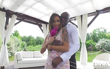 Blindfolded tow-haired babe, Malena is sucking a big, black cock and getting it inner her slit