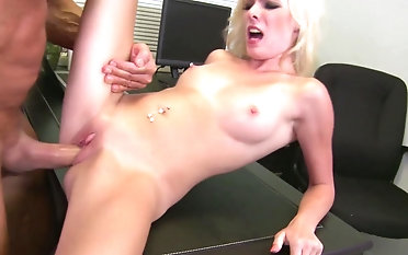 Big load of stiff dick makes blonde Elaina Page moan loudly