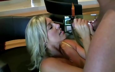 Lusty ash-blonde mom with hefty boobies is inhaling lollipop while getting on circa fours on the floor and getting screwed