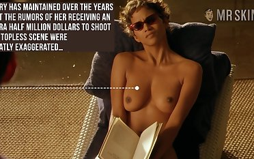 Halle Berry reading book up her titties out and that ecumenical is absurd hot