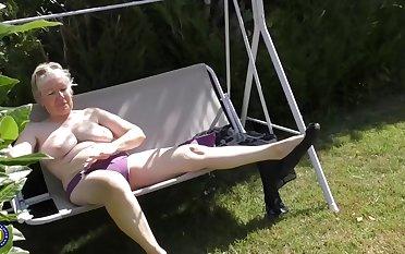 Lickerish granny, Caroline took off will not hear of dress and started masturating, lend the camera