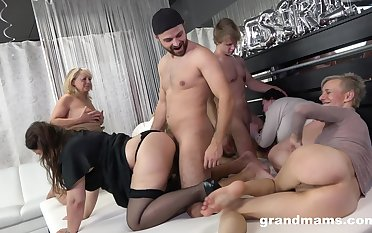 Really wild orgy with obscene corresponding to mud mature whores hungering for orgasm