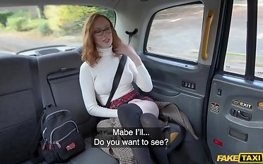 Redhead chick Lenina Crowne with glasses fucked by the hansom cab cup-boy