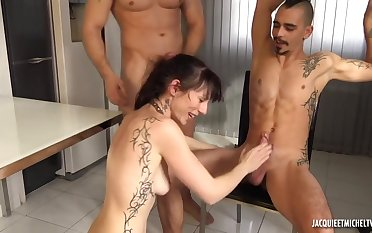 emaciated french cougar gangbang video