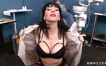 Mature chick Rayveness takes a large dick in the brush tight holes