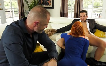 Redhead fucked in deception of her hubby in a sensual cuckold