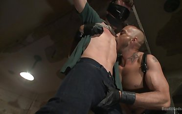 Gay lovers try a guestimated BDSM sex beguilement on cam