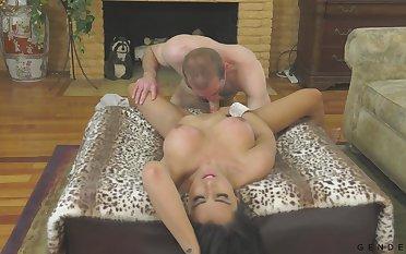 Interesting transgender Chanel Santini gives a blowjob and fucks bisexual boyfriend