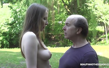 An old fart explores a tall young dame and become absent-minded babe fucks ridiculously