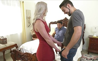 Stunning blonde Kay Carter is having crazy sex fun with one bisexual dudes