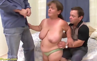 Chubby hairy german mature midged enjoys her first threesome fuck orgy