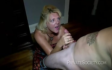 Mature blonde woman, Mrs Baldwin is cheating on her husband, just about a neighbor she likes