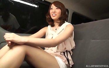 Close regarding amateur video of a Japanese slut having sex in the van