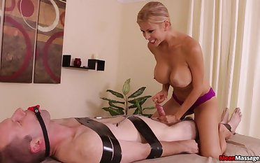 Stacked and slutty masseuse subjects client fro bondage and teasing handjob