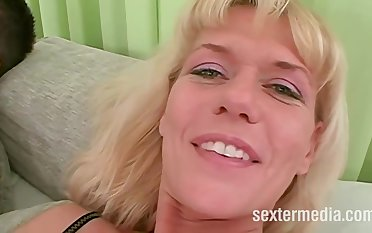 Slutty kirmess mature was wearing only black stockings while she was getting fucked in the ass
