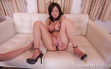 Cute Asian mode Sayuki drops her bikini to be fucked horse feathers deep