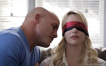 Blindfolded blonde day Kenna James kissed with the addition of fucked good