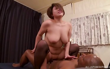 Chubby short haired Kichi Ryou gives head and gets fucked good