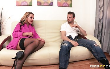 Blonde wife Nikki Sexx almost stockings rides her lover's manhood