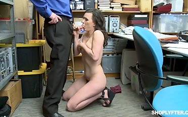 Pallid used virago is brutally mouthfucked by cop in the police station