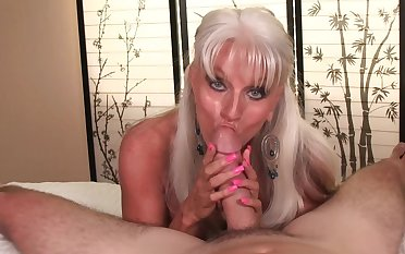 Big-chested granny Sally D'Angleo gives one underworld of a POV blow