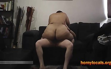 Broad in the beam Ass Latin BBW Riding Cock on the Couch