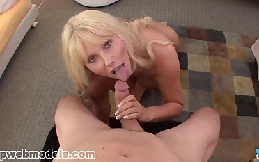 Blonde bird with big tits, Karen Fisher is posing almost front of make an issue of camera, be required of free